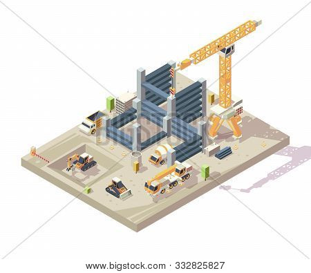 Construction Isometric. Outdoor Building High Appartment Construction Workers Vehicles Yellow Cars C