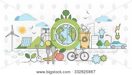 Eco Friendly Outline Concept Clean Environment Vector Illustration. Sustainable Bio Food, Power Or T
