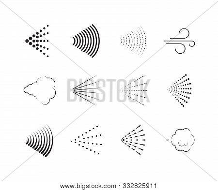 Spray Icons. Gas Nozzle Shower Air Spray Graphic Symbols Vector Collection Set. Illustration Deodora