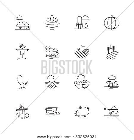 Farm Icons. Agricultural Objects Agrarian Farm Fields Landscape Rural Specific Vehicle Tractor Vecto