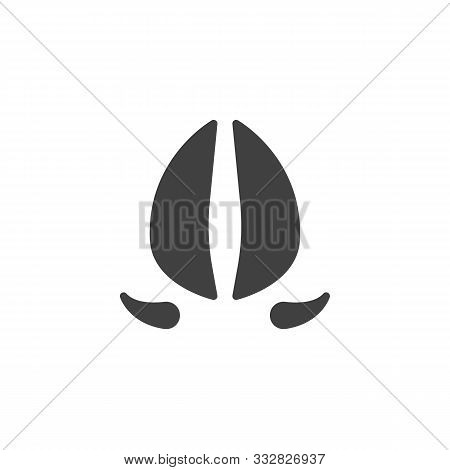 Deer Hoof Print Vector Icon. Filled Flat Sign For Mobile Concept And Web Design. Deer Paw Print Glyp