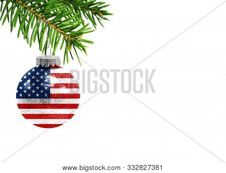 Glass Christmas Ball Toy Isolated On White Background With The Flag Of America