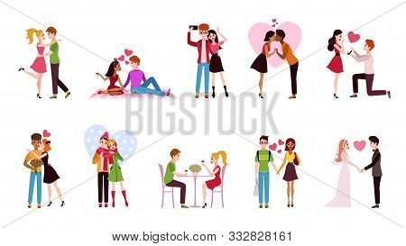 Couple In Love Set. Loving Situations Happy Romantic Couples, Young Men Women Characters Hug And Kis