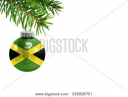 Glass Christmas Ball Toy Isolated On White Background With The Flag Of Jamaica