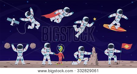 Astronaut. Cute Astronauts Working In Space With Equipment And Spaceship, Greeting Alien And Flying