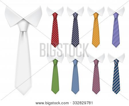 Men Ties. Fabric Clothes Items For Male Wardrobe Elegant Style Ties Different Colors And Textures Ve