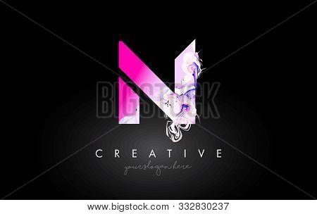 N Letter Artistic Purple Paint Flow Icon Logo Design. Creative Ink Flowing Letter Icon Design Vector