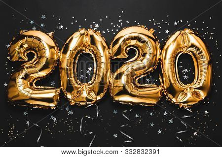 Happy New Year 2020 Celebration. Bright Gold Balloons Figures, New Year Balloons With Glitter Stars