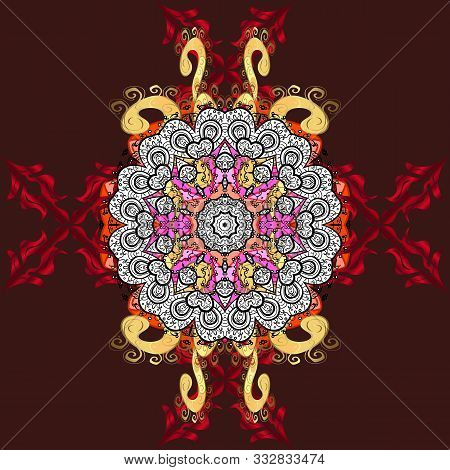 Orient, Symmetry Lace, Fabric. Colored Mandala Pattern, Arabic Background. Vector East, Islam, India