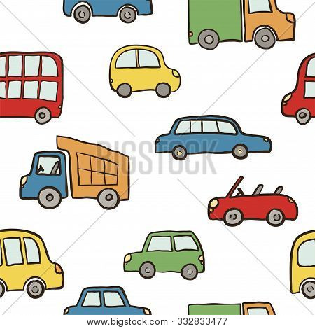 Seamless Pattern Of Hand Drawn Cute Cartoon Cars For Kids Design. Vector Illustration Wrapping, Pack