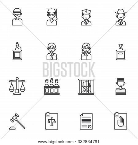 Law, Justice Line Icons Set. Linear Style Symbols Collection, Outline Signs Pack. Vector Graphics. S