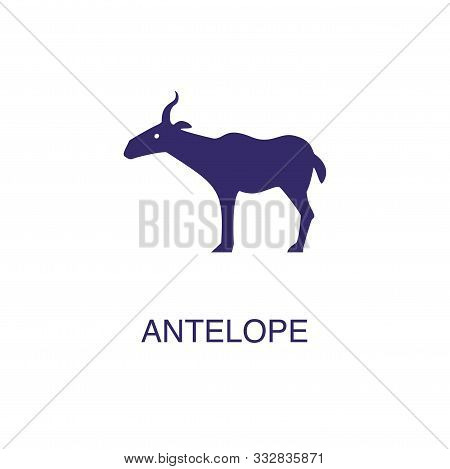 Antelope Element In Flat Simple Style On White Background. Antelope Icon, With Text Name Concept Tem