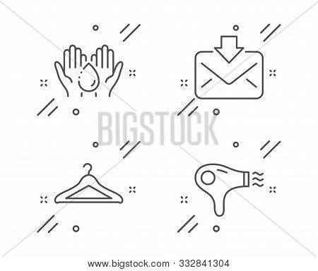Cloakroom, Wash Hands And Incoming Mail Line Icons Set. Hair Dryer Sign. Hanger Wardrobe, Skin Care,