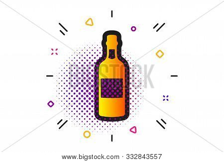 Whiskey Or Scotch Alcohol Sign. Halftone Circles Pattern. Brandy Bottle Icon. Classic Flat Brandy Bo