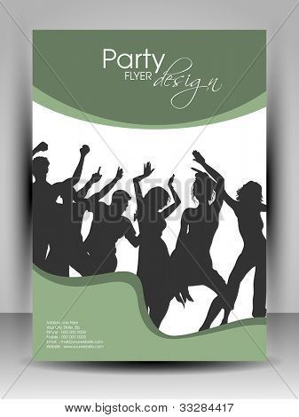 Professional business flyer template or corporate brochure design in green color with dancing people silhouette on wave pattern for publishing, print and presentation. Vector illustration in EPS 10