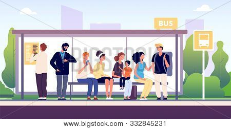 People At Bus Stop. City Community Transport, Passengers Waiting The Buses Standing Together, Urban