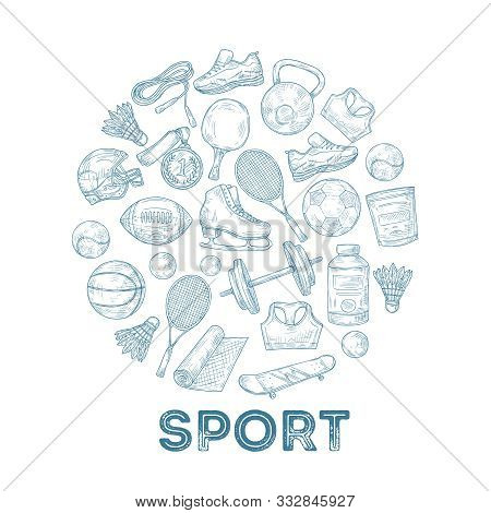Sports Equipment Background. Sketch Medal, Basketball And Rugby Ball, Skate And Football Helmet In C