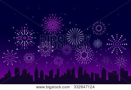 Night City Fireworks. Festive Christmas Pyrotechnics Firecrackers With Urban Skyline. Xmas Party Fes