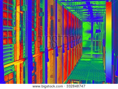 Thermal Image With A Thermal Imaging Camera From A Cold Aisle With Server Racks In A Data Center