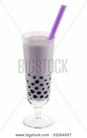purple bubble tea with clipping path asian drink against white background poster