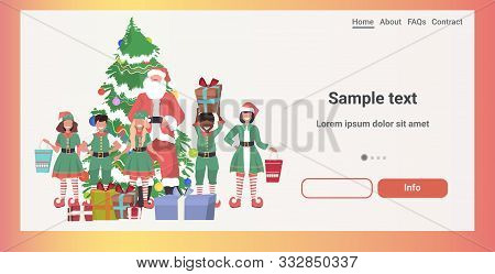 santa claus with mix race elves standing together near decorated fir tree with gift boxes merry christmas happy new year holidays celebration concept horizontal full length sketch copy space vector illustration poster