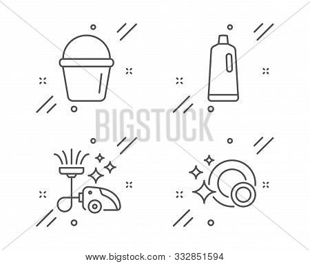 Shampoo, Vacuum Cleaner And Bucket Line Icons Set. Clean Dishes Sign. Bath Cleanser, Vacuum-clean, W