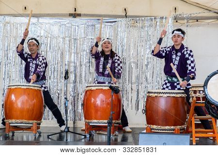 Melbourne, Australia - October 6, 2019: Japanese Drummers Performing At Street Festival