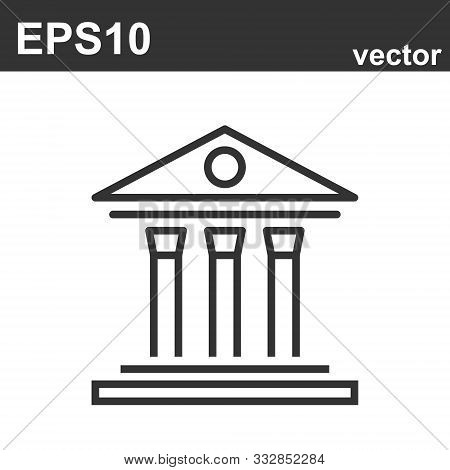 Courtroom Icon On White. Law And Judgement Line Icon. Vector Object
