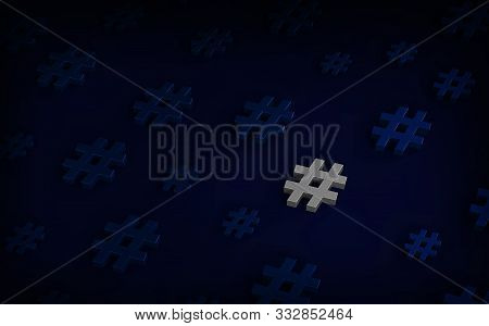 Hashtag Icon Glow In The Dark Background. 3d Illustration.