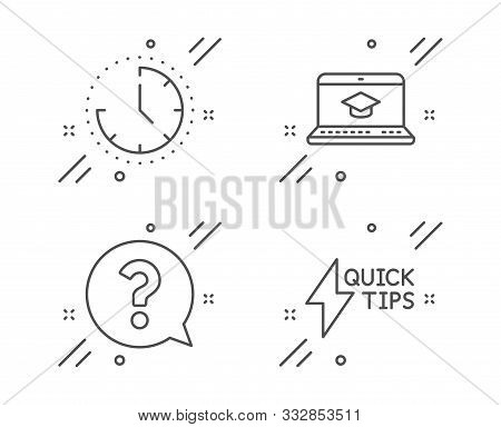 Time, Question Mark And Website Education Line Icons Set. Quickstart Guide Sign. Clock, Help Support