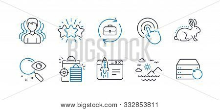 Set Of Business Icons, Such As Human Resources, Star, Group, Sea Mountains, Search, Animal Tested, C