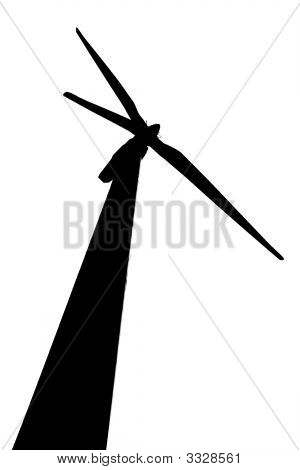 silhouette of wind turbine over white background poster