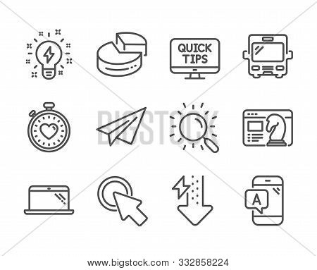 Set Of Technology Icons, Such As Paper Plane, Inspiration, Ab Testing, Laptop, Pie Chart, Heartbeat