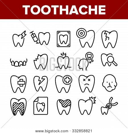 Toothache Collection Elements Icons Set Vector Thin Line. Dental Toothache And Caries, Enamel Damage