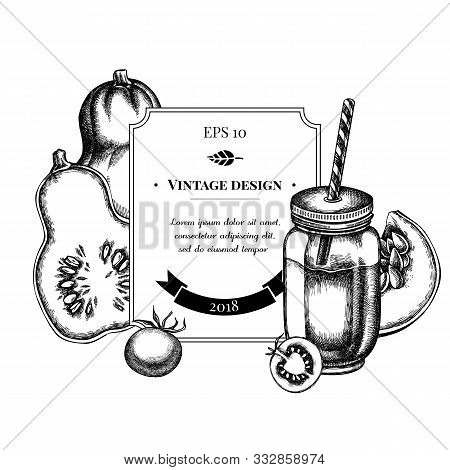 Badge Design With Black And White Cherry Tomatoes, Pumpkin, Smothie Jars Stock Illustration