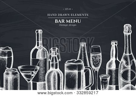 Design With Chalk Glass, Champagne, Mug Of Beer, Alcohol Shot, Bottles Of Beer, Bottle Of Wine, Glas
