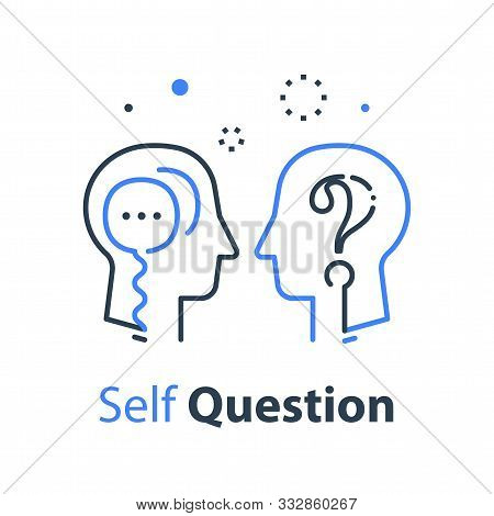 Human Head Profile And Speech Bubble, Self Questioning, Cognitive Psychology Or Psychiatry Concept,