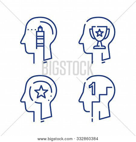 Human Head Profile And Cup, Growth Motivation Concept, Leadership Training Course, Employee Of The M