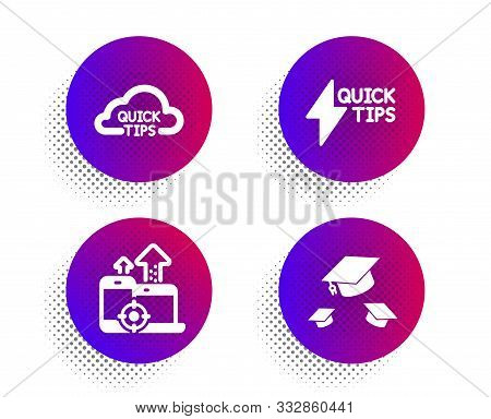 Seo Devices, Quickstart Guide And Quick Tips Icons Simple Set. Halftone Dots Button. Throw Hats Sign
