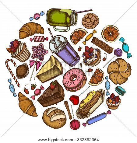 Round Design With Colored Cinnamon, Macaron, Lollipop, Bar, Candies, Oranges, Buns And Bread, Croiss