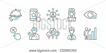 Set Of People Icons, Such As Networking, Restaurant Food, Myopia, Repairman, Star Rating, Businessma