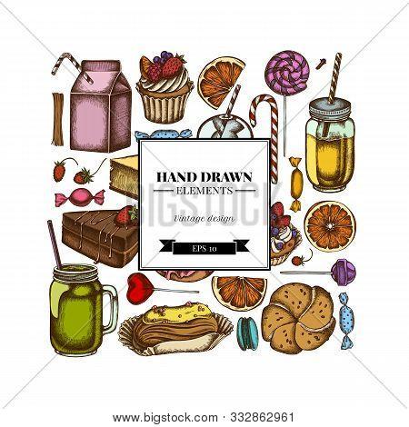 Square Design With Colored Cinnamon, Macaron, Lollipop, Bar, Candies, Oranges, Buns And Bread, Crois