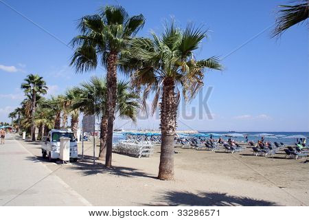 A general view of a beach scene pictured in the resort of Ayia Napa on the island of Cyprus.