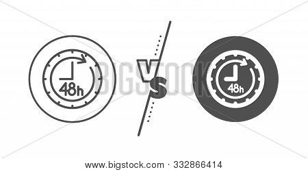 Delivery Service Sign. Versus Concept. 48 Hours Line Icon. Line Vs Classic 48 Hours Icon. Vector