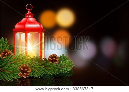 Red Christmas Lantern With Burning Candle Inside, Decorated With Fir Tree Branches And Pine Cones. D