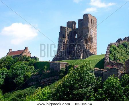 View of Scarborough's Norman Castle remains on castle headland, Scarborough, North Yorkshire, England.