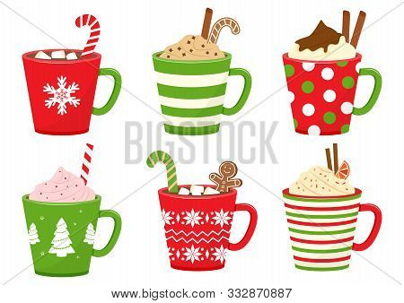 Winter Holiday Cups With Drinks. Mugs With Hot Chocolate, Cocoa Or Coffee, And Cream. Gingerbread Ma