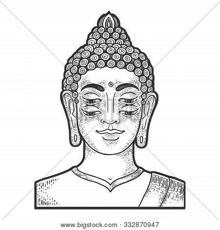 Four Eyes Buddha Engraving Vector Illustration. T-shirt Apparel Print Design. Scratch Board Style Im