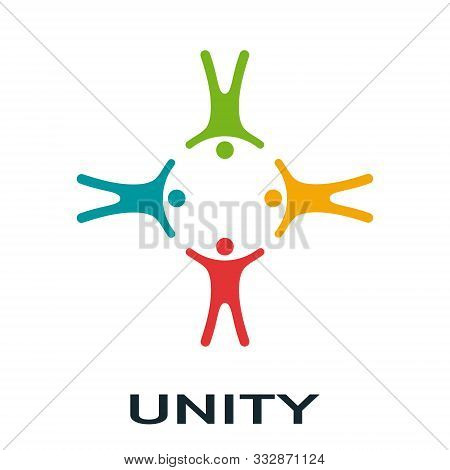 Vector Unity Concept. People With Different Skin Colors Holding Each Other Making The Cross Shape. F