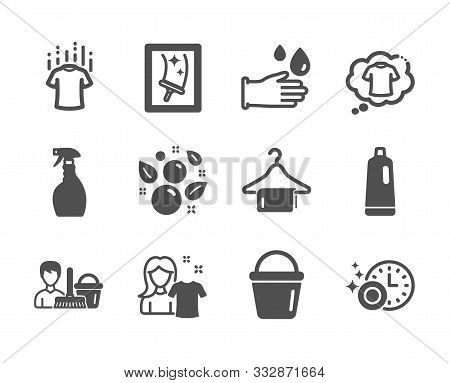 Set Of Cleaning Icons, Such As Clean Towel, Dry T-shirt, Spray, Window Cleaning, Bucket, Clean Bubbl